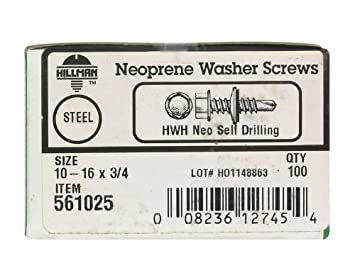 The Hillman Group 561025 10-16-Inch x 3//4-Inch Washer Head Neoprene Washer Self Drilling Screw 100-Pack