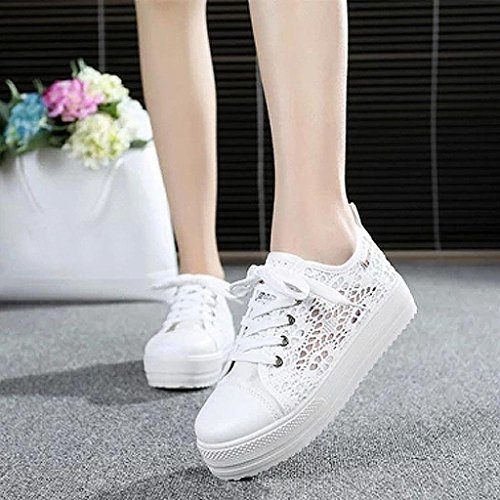 Jamicy Women Summer Casual Canvas Lace Up Hollow Breathable Flat Shoes White zPu2hEBk