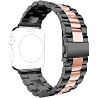 For Apple iWatch Band 42MM, Rosa Schleife Apple Watch Band 42 Stainless Steel Metal Replacement Smart Watch Strap Link Bracelet Wrist Band for Apple Watch Series 3/2/1 42mm(Not Fit 38mm Version)