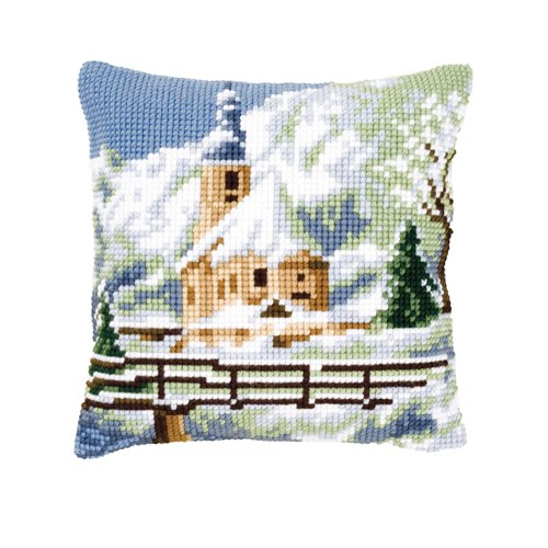 Snowy Church Cushion Front Chunky Cross Stitch Kit Chunky Cross Stitch
