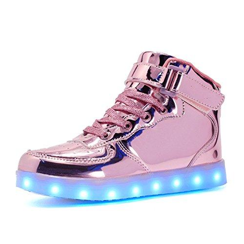 SENFI verbesserte LED-Licht Schuhe High Top Sneaker für Männer / Frauen Rosa
