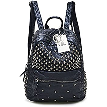 Yoome Backpack with Rivet Studded Washed Leather Casual School Bookbag  Ladies Shoulder Bag Purse Black 96fdae41b6d4f
