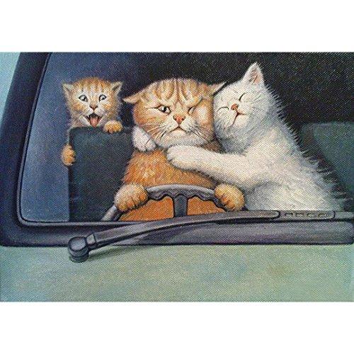 (5D DIY Diamond Painting Embroidery,Lisin 5D Diamond Rhinestone Pasted Embroidery Cute Animal Feline Painting Cross Stitch Home Decor Wall Sticks (cat driver, 40x30CM))
