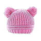Newborn Winter Warm Hat,Jchen(TM) Toddler Baby Boys Girls Winter Keep Warm Crochet Knit Hat Infant Hairball Cap for 0-2 Y (Hot Pink)