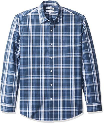 Amazon Essentials Men's Regular-Fit Long-Sleeve Casual Poplin Shirt, Navy, Medium