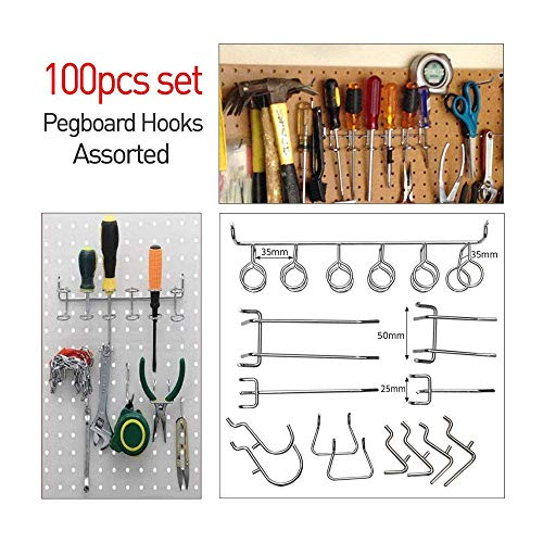 Buckes - 100Pcs Pegboard Shelving Set Pegboard Hooks Storage Shop Garage Organizing Tools Hanger - (Size: as Shown, Color: Silver) by Lysee (Image #6)