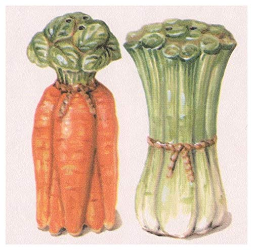 Stylized Rooster Carrot Celery Salt Pepper Shaker Apple Pear Rustic Wallpaper Border Retro Design, Roll 15' x 4.25''
