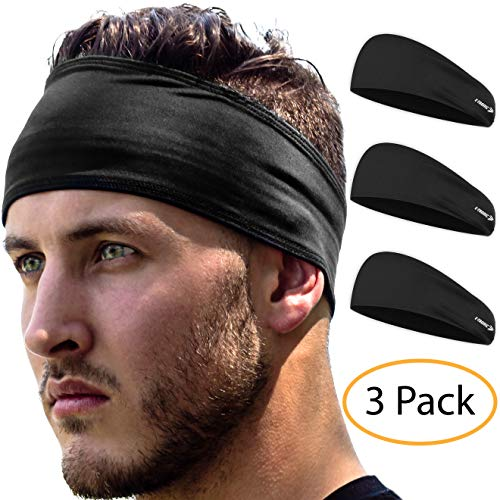 Sports Headbands 3 Pack: Unisex Fitness Headbands for Women & Men. Head Band Sweatband for Running, Yoga, Workout Gym Exercise. NO Slip Sport Sweatbands & Sweat Wicking Athletic Head Wrap Bands