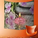 UHOO2018 Square Tapestry Beautiful spa Composition with Flowers and Candles on Black Throw, Bed, Tapestry, or Yoga Blanket 39W x 39L Inch