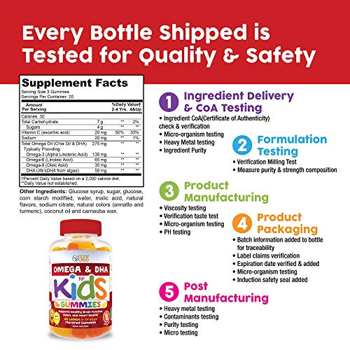 Complete DHA Gummies for Kids by Feel Great 365 (20 Servings), Omega 3 6 9 from Algae, Chia, and Coconut Oil, Supports Healthy Brain Function, Vision, and Heart Health in a Chewable Vegan Supplement