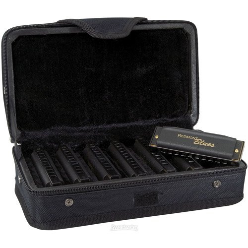 Hohner Piedmont Blues - Diatonic Harmonica - 10 Hole - 7 Pack Key A,Bb,C,D,E,F,G (Hohner Piedmont Blues 7 Harmonica Pack With Case)