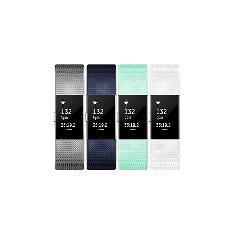 Tobfit Sport Silicone Bands Compatible for Fitbit Charge 2 Classic & Special Edition, 4 Pack