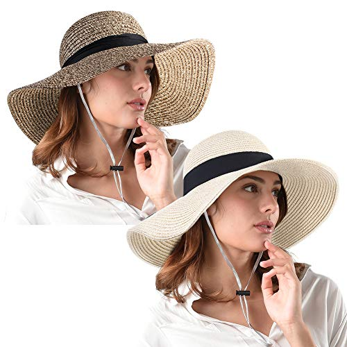 Womens Wide Brim Straw Hat UPF 50+ Floppy Foldable Roll up Beach Sun Hats for Women -