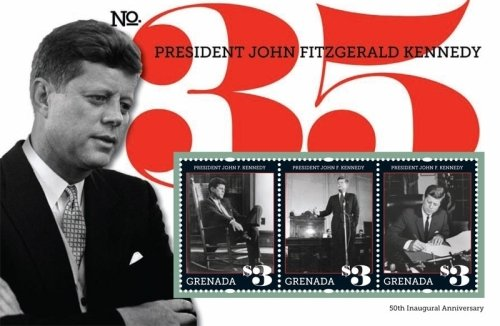 John F Kennedy Stamp - John F. Kennedy 50th Anniversary of Inauguration Collectors Stamps - Grenada