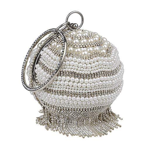 Yzibei pratico Trapano modello palla da donna con borsa da sera in rilievo pochette per borsa da sposa borsa da sposa borsa da ballo (Colore : Nero) Argento