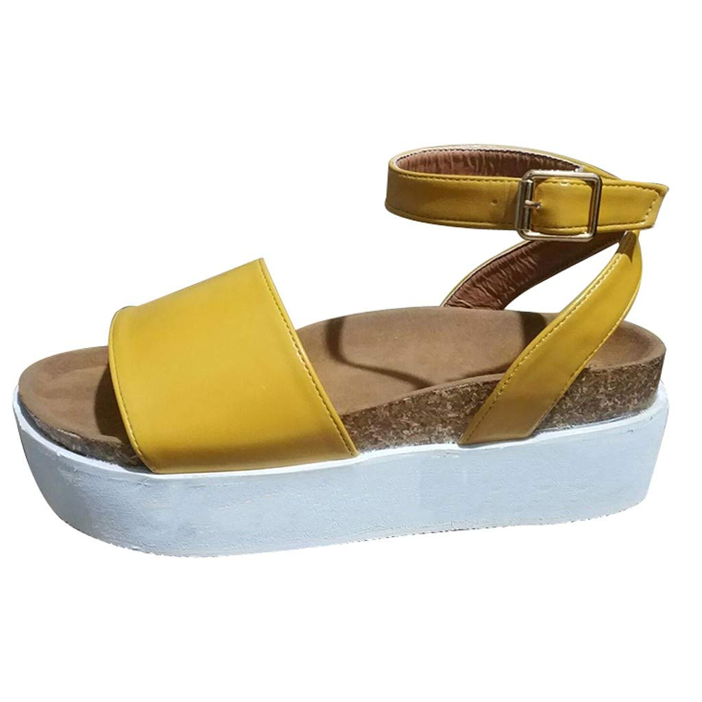 Woman Roman Weaved Wedged Sandals High Waterproof Platform Sandals Ankle Strap Buckle Peep Toe Slingback Beach Shoes (Yellow, 5.5 M US) by Swiusd Shoes