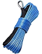 Synthetic Winch Rope 1/4 Inch x 50 ft 7700LBs with Black Protecing Sleeve for ATV UTV SUV Winches Line Cable Rope