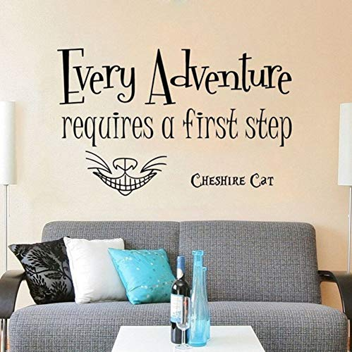 Pbldb Sleepwalking Wonderland Wall Decal Each Time You Need A Quotation Wall Sticker Cheshire Cat Vinyl Wall Decoration Children's Room Decoration 42X27