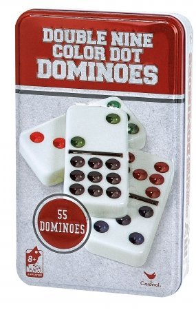 Cardinal Industries Inc 9511C-4 Double 9 Dominoes In Tin Assorted Colors