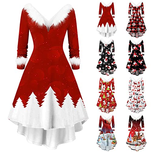 Christmas Dresses for Women Furry V Neck Swing Dress High Low Party Dress Long Sleeve Christmas Print Dresses (Red02, L)
