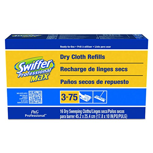 Swiffer Professional Max Dry Refill Cloths, 17.8 x 10, 16 Cloths Per Box (Case of 6)