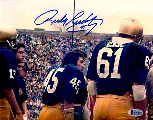 Beckett BAS Rudy Ruettiger Autographed Signed Notre Dame 8x10 Photo on SIdelines