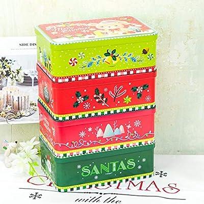 SummarLee 4 Cajas de Lata de Caramelos navideños rectangulares ...