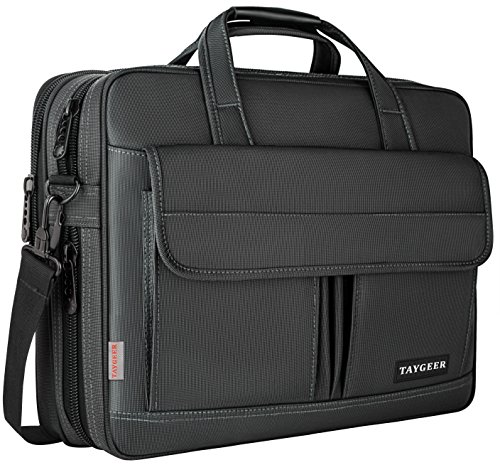Taygeer Laptop Bag 15.6 Inch,Water Resistant Briefcase, 15inch Expandable Messenger Shoulder Bag with Strap, Carry On Handle Case for Computer/Notebook/MacBook for Business Men/Women, Black by Taygeer