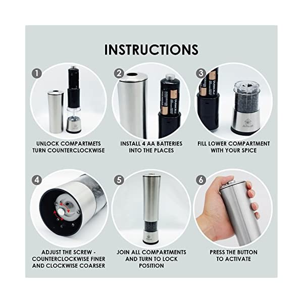 AiNeat Electric Salt and Pepper Grinder Set With LED Light