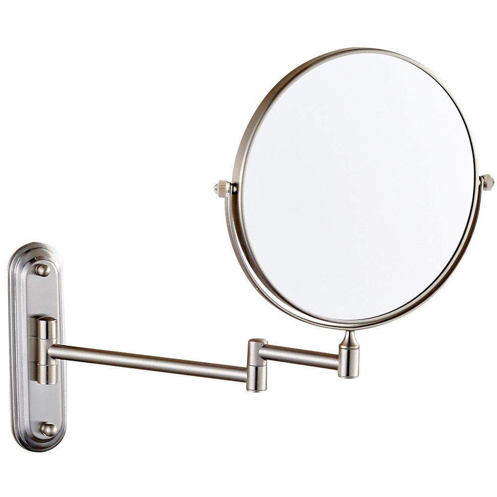 GURUN Wall Mount Magnifying Mirror Brushed Nickel Finish with 10x Magnification,8-Inch Two-Sided Swivel M1206N 8in,10x