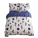 BuLuTu Space Rocket Print Cotton Boys Bedding Duvet Cover Sets Queen White and Blue 3 Pieces (1 Duvet Cover and 2 Pillowcases) Planet Spaceship Star Full Girls Bedding Sets Zipper Closure,NO COMFORTER