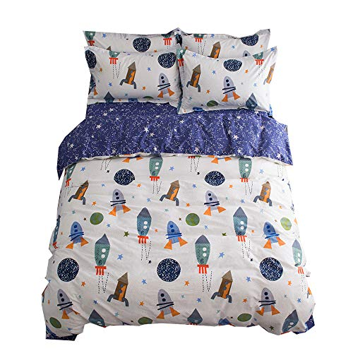 Star Full Comforter - BuLuTu Space Rocket Print Cotton Boys Bedding Duvet Cover Sets Queen White and Blue 3 Pieces (1 Duvet Cover and 2 Pillowcases) Planet Spaceship Star Full Girls Bedding Sets Zipper Closure,NO COMFORTER