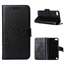 iPod Touch 5 / 6 Gen Wallet Case, Apple ipod touch 6/ipod touch 5 Beautiful Case, Flower Butterfly Pattern Premium PU Leather Wallet Case with Wrist Strap Flip Case Cover (black)