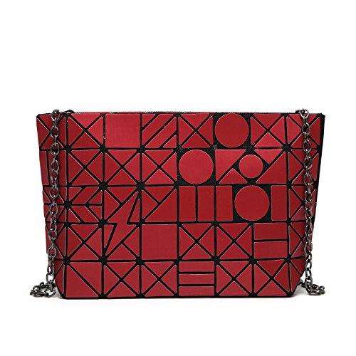Wlfhm Géométrique Red 5 8 Bandoulière Couture Mat Main Sac Messenger À Diamant UrW8wUqT