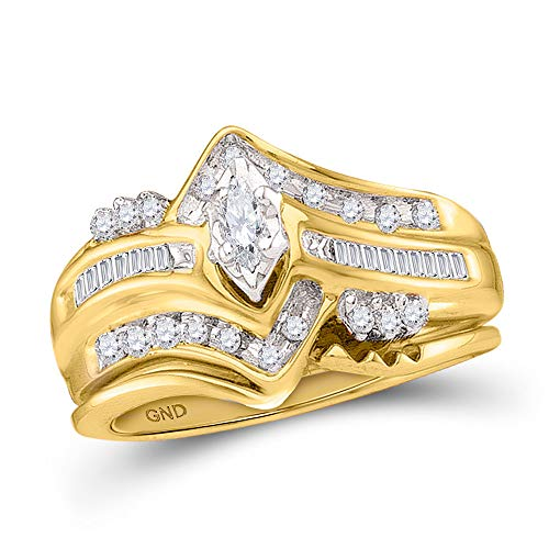 FB Jewels Solid 14kt Yellow Gold Womens Marquise Diamond Bridal Wedding Engagement Ring Band Set 1/4 Cttw (Marquise Solid 14kt Yellow Gold)