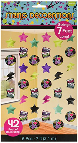 Awesome 80's Party String Decorating Kit, Foil, 7', Pack of 6