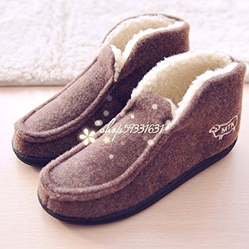 Forfait hiver avec chaussons en coton pour rester à la maison quelques jolies chaussures chaudes et les hommes, 42, marron
