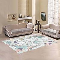 your-fantasia Cute Unicorns Rainbows Clouds Stars and Crystals Area Rug Modern Carpet Home Decor