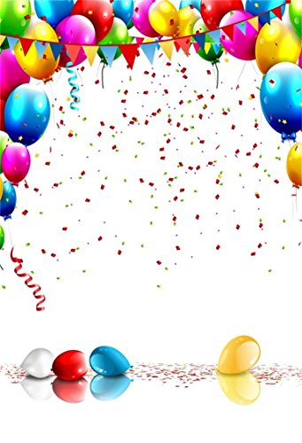 AOFOTO 3x5ft Happy Birthday Background Colorful Balloons and Confetti Photography Backdrop Kid Baby Boy Girl Artistic Portrait Photo Studio Props Video Drape Party Decoration Wallpaper Banner