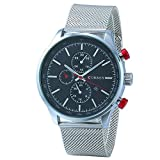 LinTimes New casual Stainless steel Men's dress Watch,with Silvery Case and Black Dail