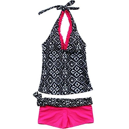TIAOBU Girls 2Pcs Halter Geometric Pattern Tankinis Swimsuit (13-14, Hot Pink)