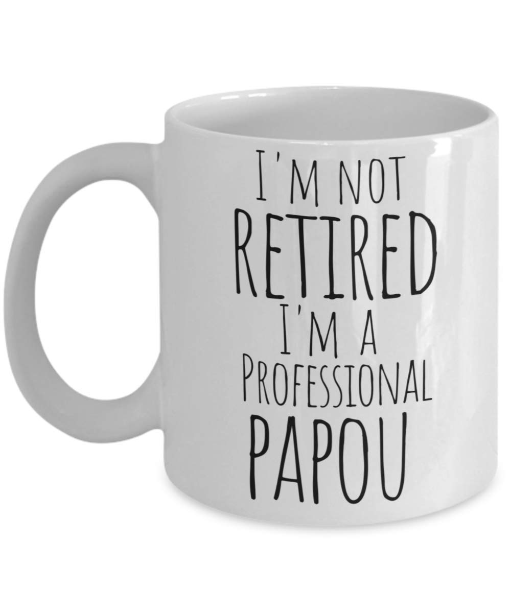Papou Mug for Retired Greek Grandpa - Best Fathers Day, Christmas Stocking Stuffer, Birthday or Baby Reveal Gift For a New Grandfather from Grandkids Granddaughter Grandson - 11oz Coffee Tea Cup