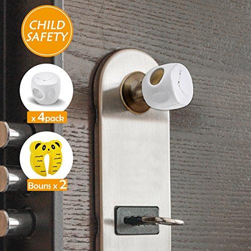 WeGuard Upgrade Version Child Proof Door Knob Cover with Locked Cover Baby Proof Door Knob Cover for Kids - with Free Door Stoppers by WeGuard