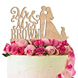 Personalized Wedding Cake Topper Customized Mr. and Mrs. Last Name 4 Color Type and 24 Colors Design 8 (Wood Colors)