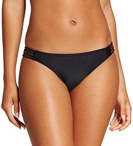 (Xhilaration Women's Strappy Hipster Bikini Bottom (Black, Medium) )