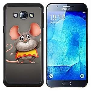 Qstar Arte & diseño plástico duro Fundas Cover Cubre Hard Case Cover para Samsung Galaxy A8 A8000 (Ratón feliz grasa)