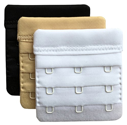 "Chanie Women Pack of 3 Soft Comfortable 3 Hooks Bra Extender,2.4""x 2.3"" Assorted"