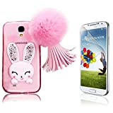 Galaxy S4 Case, Samsung Galaxy S4 Case Cute, Bonice Cartoon Rabbit Bling Diamond Crystal Soft Transparent TPU 3D Cute Ear Stand Silicone Case with Hairball Pompon Wristlet + HD Screen Protector, Pink