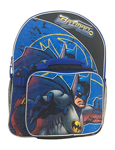 Dc Comics Boys' Batman Full Size Backpack with Detachable Lunch Kit, 3D