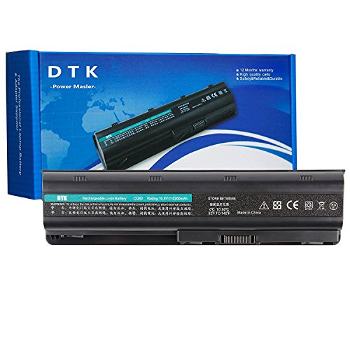 DTK MU06 593553-001 593554-001 636631-001 Laptop Battery Replacement for HP G62 G72 Pavilion G4 G6 G7 DM4 DV6-3000 DV6-4000 Presario CQ42 CQ56 CQ57 Notebook HSTNN-Q62C HSTNN-LB0W 10.8V 4400mAh 6 Cell ()